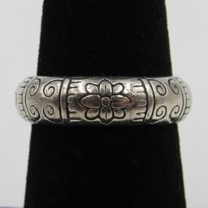 Vintage Size 6.75 Sterling Thick Heavy Floral Band